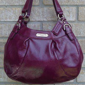 Coach Crimson plum patent leather Shoulder Bag.
